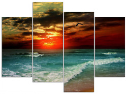 Wall Art Canvas Prints Seascape Cloudy Sea Pictures Paintings Framed Home Decor