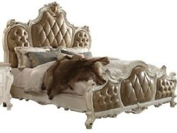 Antique Pearl Finish Tufted Fabric Bedroom Furniture Queen Size Bed 1piece