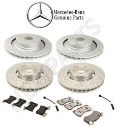 For Mercedes W218 X218 Front And Rear Disc Brake Rotors Pads Sensors Kit Genuine