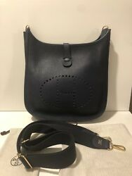 HERMES EVELYNE III 33 GM Blue Sapphire CLEMENCE SHOULDER CROSSBODY HANDBAG