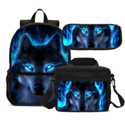 Sparkle Wolf Bag Set Schoolbag Lunch Bag Crossbody Pen Bag for Kids Wholesale