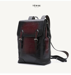 Vintage Men Genuine Leather Patina Design Engraving Medium Casual Backpack Bag