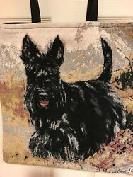Jacquard-woven Tote Bag with Black Scottie Dog (Scottish Terrier) - New