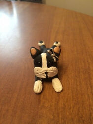 Boston Terrier Lying Down Figurine - OOAK - Polymer Clay