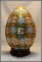 Grand Hand Made Open Work Gilded Chinese Cloisonne Egg 15 H X 10 W W/stand