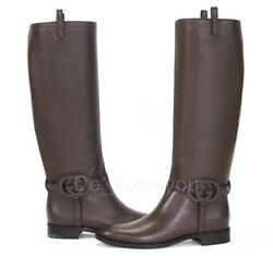 New Calf Brown Leather 3-d Interlocking Gg Riding Tall Boots 37.5 - Us 7.5