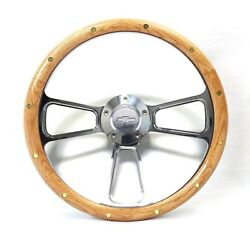 1957 -1963 Chevy Full Size Cars Real Oak Andamp Billet Steering Wheel Andamp Ad...