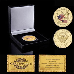 Betsy Ross Usa Flag Designer Souvenir Challenge Coin Gold Plated W/ Luxury Box