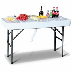 Picnic Table Bbq Party Pool Outdoor Folding Beverage Drinks Ice Cooler Bin Stand