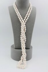 Classic White Cultured Japanese Akoya Opera Length Pearl Necklace New 30 Inches
