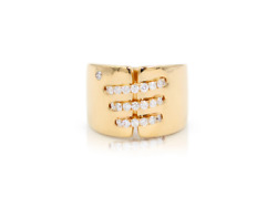 Wide Three Lines Connecting Both Sides Diamond Ring 14 Karat Yellow Gold New 6.5