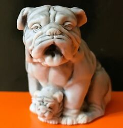 English Bulldog figurine Dog marble chips miniature realistic Souvenirs Russia
