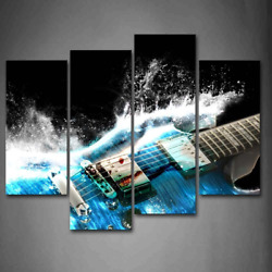 Guitar Waves Music Print Canvas Wall Art Painting Picture Home Decor Framed USA