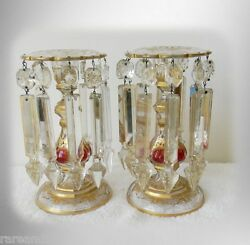 Pair Of Vintage Glass Candle Holders Long Prisms And Gold Decorations