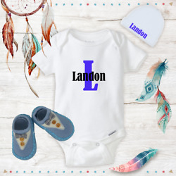 Personalized Name Cute Baby Boy Clothes Onesies Hat  Beanie Shoes - Shower Gift