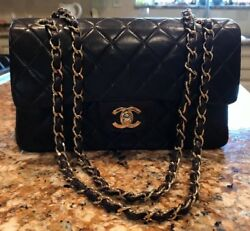 Authentic Brown Chanel Double Flap Quilted Lamb Skin w Chain Strap MINT !