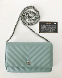 AUTH New CHANEL light Blue Caviar WOC Wallet On Chain Bag Clutch SILVER Hardware