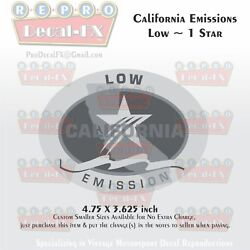 California Emissions Decals Low 1 Star Outboard Evinrude Johnson Honda