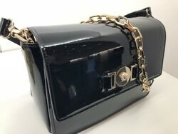 VERSACE SIGNATURE  LADIES BLACK PATENT BAG WITH STRAP NEW IN BOX