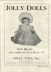 1953 Paper Ad Toy Jolly Dolls Doll Hat Dress Cortland Friction Mechanical Toys