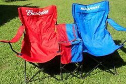 Rare Awesome Budweiser And Bud Light Double Folding Chair With Built In Cooler