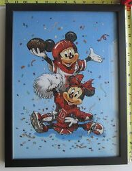 Framed Mickey And Minnie Artwork Made From Genuine Crushed Gemstones Of Many Types