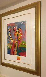 angel With Heart On Blue By Peter Max Framed Serigraph