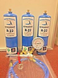 Refrigerant 22  R22 Refrigeration AC (3) 28 oz Cans Recharge Kit  Nice New