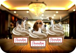 12 Novelty Beagle Dog Mix Edible Cupcake Cake Toppers Decorations Dogs Pedigree