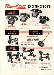 1954 Paper Ad 2 Pg The Gong Bell Toy Co School Bus Milk Truck Phone Toys Pull