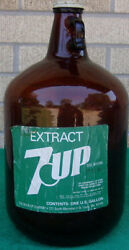 7-up Extract Fountain Syrup One Gallon Brown Glass Bottle Jug Paper Label Rare
