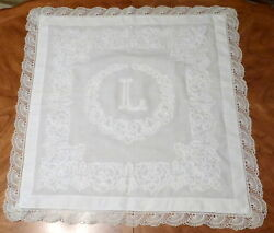 Lovely Vintage 1930's Monogram L White Embroidered 32 Side Table / Pillow Cover