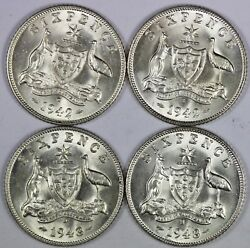 Australia 1942 D 1942 S 1943 D And 1943 S Sixpences Choice Uncirculated