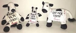 chick-fil-a eat mor chikin sign small cow plush eat more chicken black white red