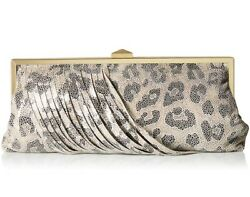 Hobo International Colette Leather Organizer Wristlet Clutch Cheetah Shimmer NWT