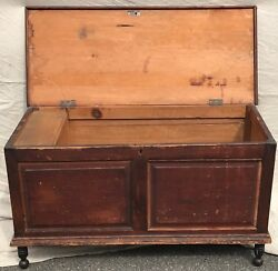 Early 19th C. Federal Period Pine Antique Blanket Box W/ Double Paneled Front