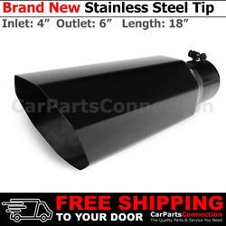 Universal Truck Angled Octagon Black 18 Inch Bolt-on Exhaust Tip 4 In 6 Out