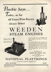 1948 Paper Ad Weeden Toy Play Steam Engine Brass Boiler National Playthings