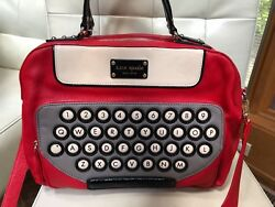 Brand New: Kate Spade Typewriter All Typed Up Clyde Red LEATHER Typewriter Bag