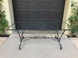 1900s Early American Antique Wrought Iron And Glass Garden Table