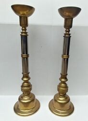 Vintage Heavy Brass and Silver 2 Tone Tall Candle Stand Holders 22 x 6 1 2 Tall