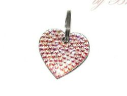 Bling Dog Tag Crystallized W/ Crystals Bone Heart Circle Pink Cat Name