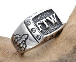 Menand039s Motorcycle Biker Rider Style Ring Harley Ftw Outlaw Middle Finger Up 7-14
