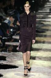 Tom Ford for GUCCI Runway FW 2004 Eggplant Dress Skirt Suit It 46 - US 810