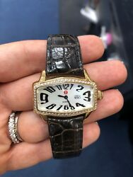 Nwt Michele Coquette Retro, Mop Dial, Diamond Bezel Yellow Gold Plated