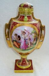 Royal Vienna Lidded Vase - Victorian Scene With Cherubs And Gold Accents