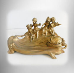 Cast Metal Gilt Inkwell With Glass Insert - Cherubs And Frog Pond