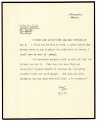 Winston Churchill Typed Letter Signed - Re/ His Wwii Memoir The Second World War