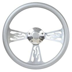 65-66 Ford Galaxie Flame Steering Wheel 14 Inch Aluminum With Silver Wrap