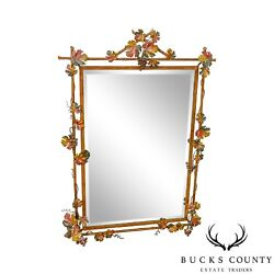 Labarge Italian Painted Tole Metal Grapevine Beveled Wall Mirror